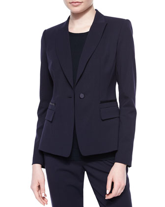 Kiernan One-Button Jacket, Matte Crepe Shell & Barrow Straight-Leg Pants