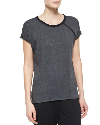 Celeste Short-Sleeve Zip-Detail Tee & Eve Colorblock Track Pants