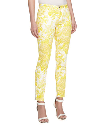 Skinny Zip Floral-Print Denim Trousers, Orange