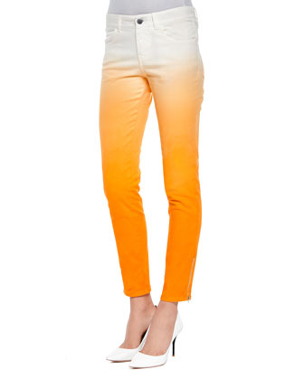 Ombre Denim Skinny Jeans, Orange