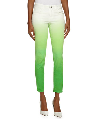 Ombre Denim Skinny Jeans, Green
