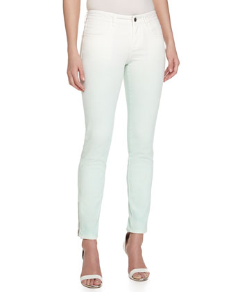 Ombre Denim Skinny Jeans, White/Green