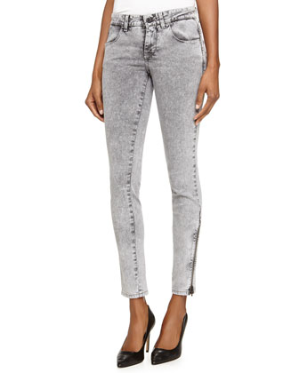 Acid-Wash Denim Skinny Jeans, Gray