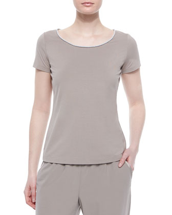 Short-Sleeve Metallic-Edge Top