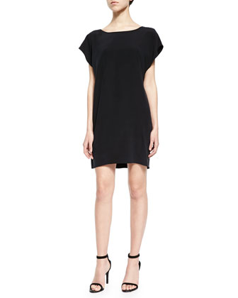 Mesh-Back Crepe Shift Dress, Black