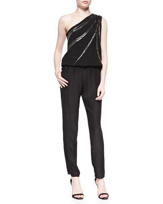 Sequined One-Shoulder Jumpsuit, Black
