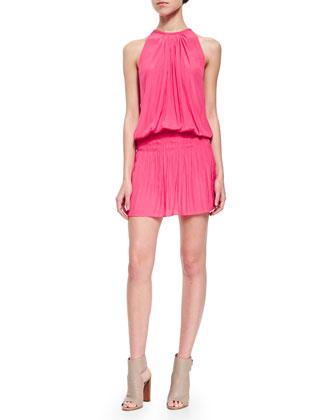 Paris Crinkled Sleeveless Dress, Watermelon