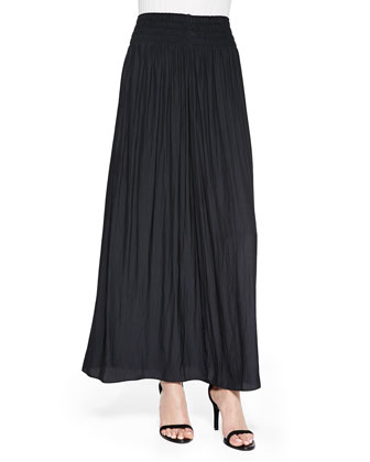 Paris Pleated Voile Maxi Skirt