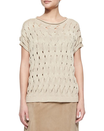 Open-Wave-Stitch Sweater, Soy