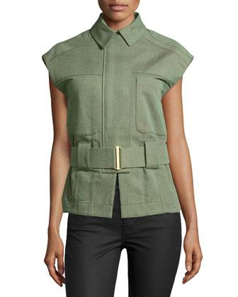 Cap-Sleeve Belted Jacket
