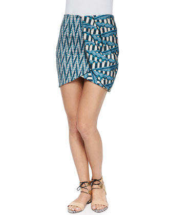 Abstract-Print Pencil Skirt, Aqua