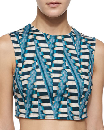Abstract-Print Crop Top, Aqua