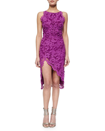 Floral-Lace Asymmetric Dress