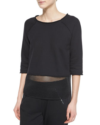Camille 3/4-Sleeve Tee W/ Mesh & Eve Colorblock Track Pants