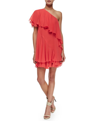 Tiered Strapless Silk Dress, Red-Orange