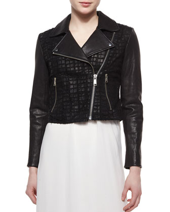 Tattered Croc-Print Lambskin Leather Moto Jacket