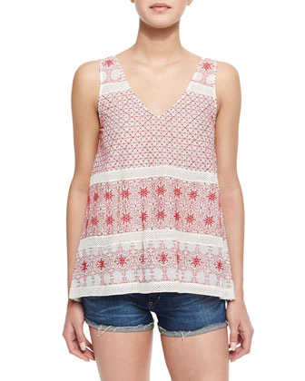 Jaipur Embroidered Sleeveless Top, Red