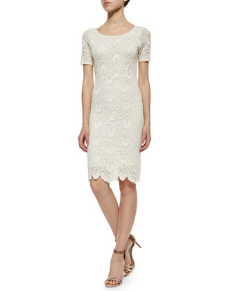 Kiara Sleeveless Lace Dress, Cream