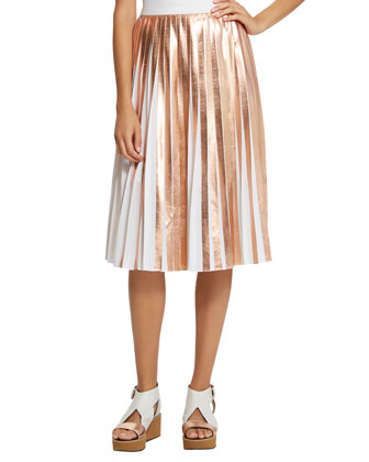 Foil Pleated Skirt, Gold/Eraser