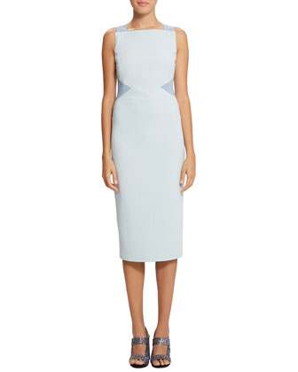 Blair Two-Tone Midi Sheath Dress, Blue