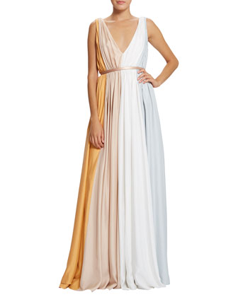 Sarina Tricolor Pleated Gown, Resin/Chalk/Eraser