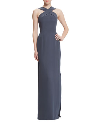 Skyla Silk Halter Gown with Belt, Anthracite