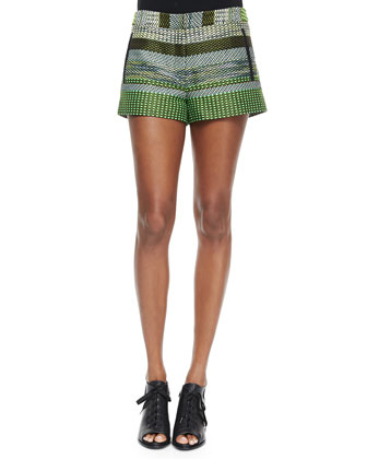 Striped Tweed Shorts, Black/Green
