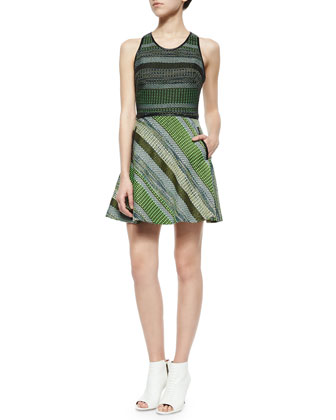 Striped Tweed Racerback Dress, Black/Green