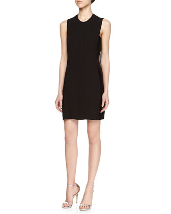 Crewneck Plisse Sheath Dress