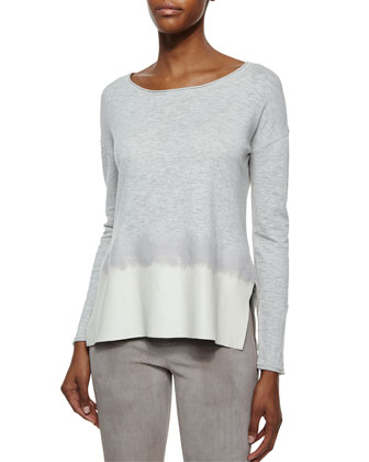 Slubby Cotton Leather-Trim Sweater