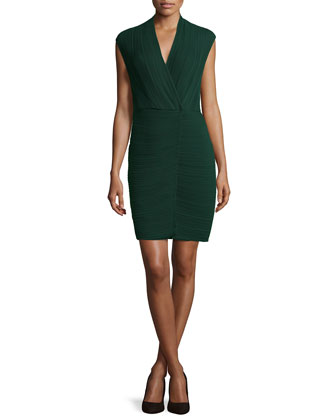 Plisse Chiffon Open-Back Dress, Green