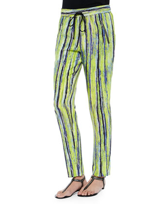 Drawstring Pants, Citron Stripe