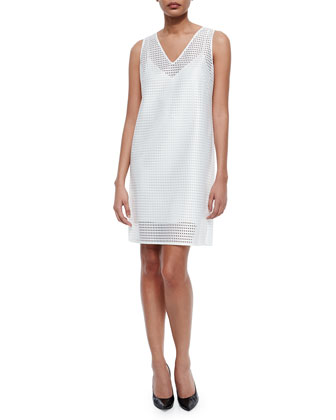 Geometric Eyelet Shift Dress