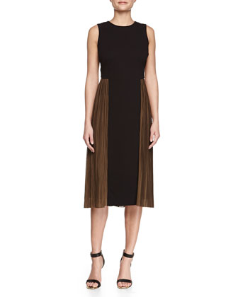 Plisse-Skirt Ponte Dress, Black/Brown