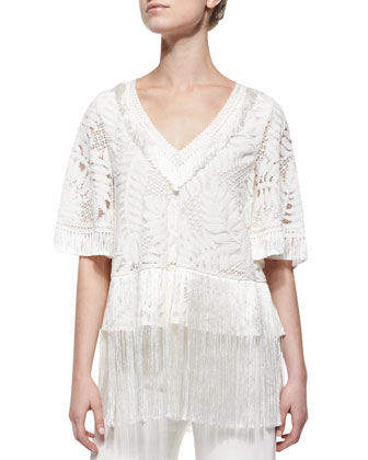 Ronan Fringe-Trim Lace Top