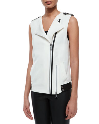 Ottoman Suiting Vest W/ Leather Trim