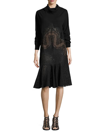Long-Sleeve Cowl-Neck Lace Flutter Dress