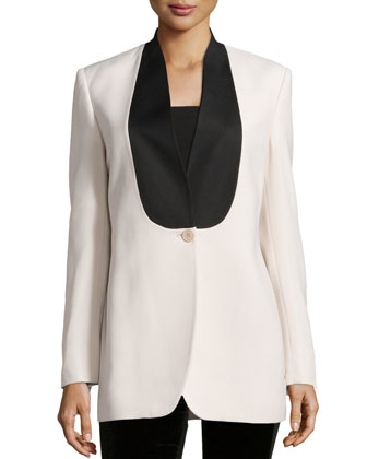One-Button Two-Tone Blazer