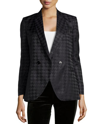 Houndstooth Double-Breasted Jacket, Black
