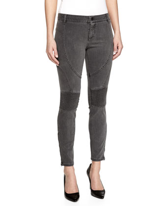 Skinny Stretch Moto Jeans, Gray