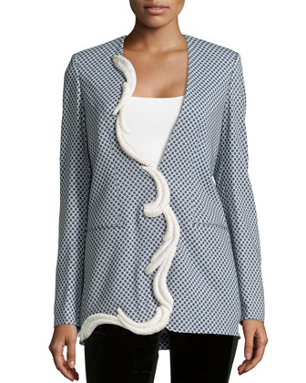 V-Neck Geo-Print Jacket, Blue