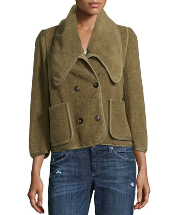 Textured Double-Breasted Short Jacket