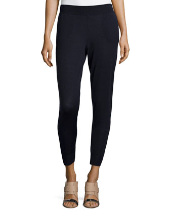 Skinny Stretch-Knit Pants, Blue