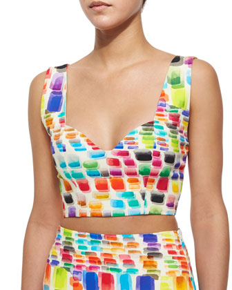 Ayden Printed Sleeveless Crop Top