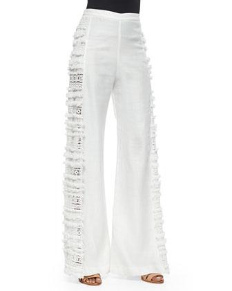Julius Side-Fringe Wide-Leg Pants