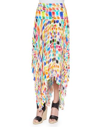 Gustav Printed Pleated Uneven Skirt