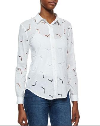 The Arrow Cutout Cotton Blouse & Marrakech Flare-Leg Denim Jeans