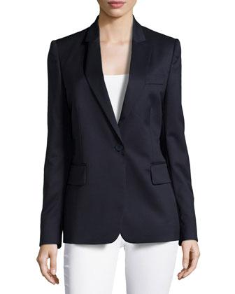 Single-Button Blazer Style Jacket, Blue