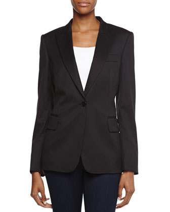 Wool V-Neck Blazer Jacket, Black