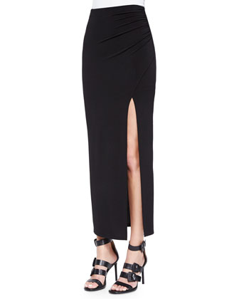 Gathered High-Slit Maxi Skirt